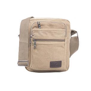 Мужская сумка вертикальная, HONGYUNDA 18х23х9 ткань брезент ксФ1518беж, фото 2