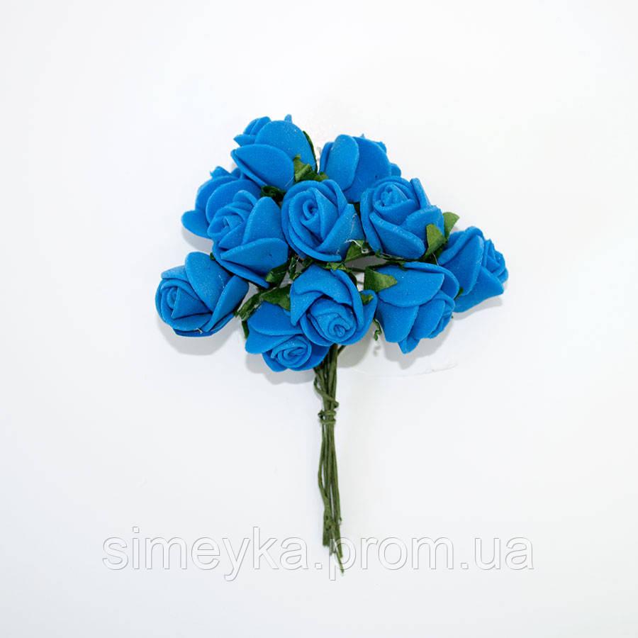 Розочка латексная синяя, букетик из 11 цветков, диаметр розы 15-20 мм, длина проволоки 7 см