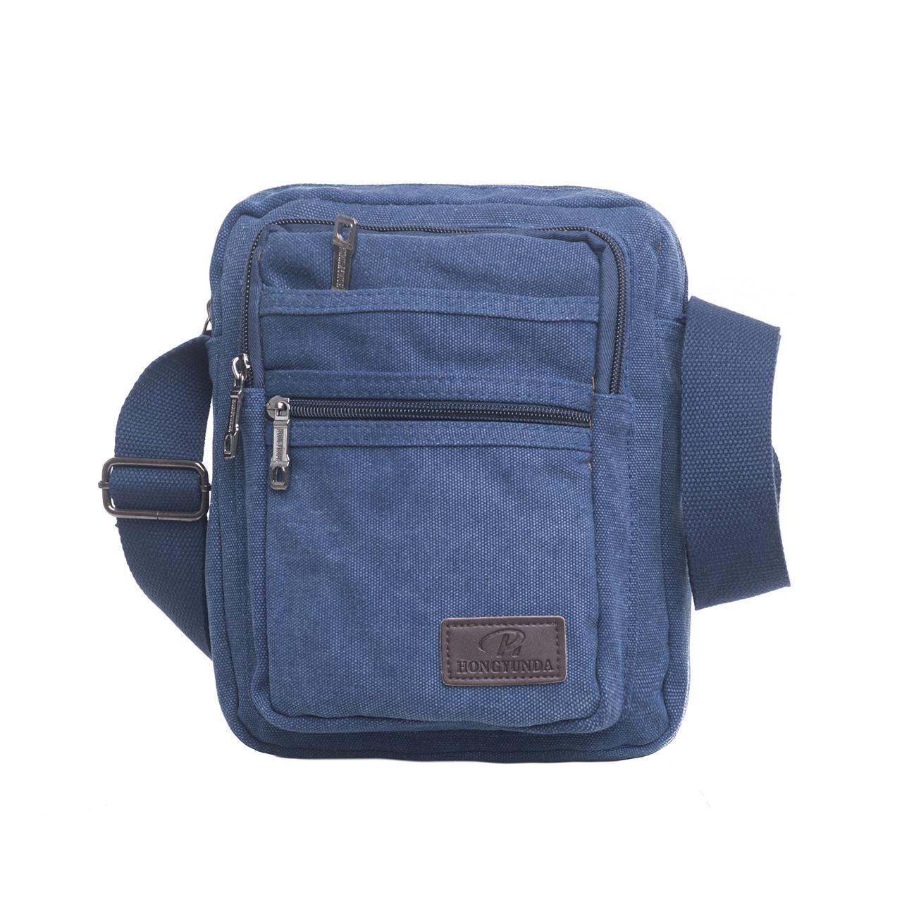 Чоловіча сумка HONGYUNDA вертикальна, 18х23х9 тканина брезент ксФ1518син