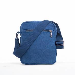 Чоловіча сумка HONGYUNDA вертикальна, 18х23х9 тканина брезент ксФ1518син, фото 2