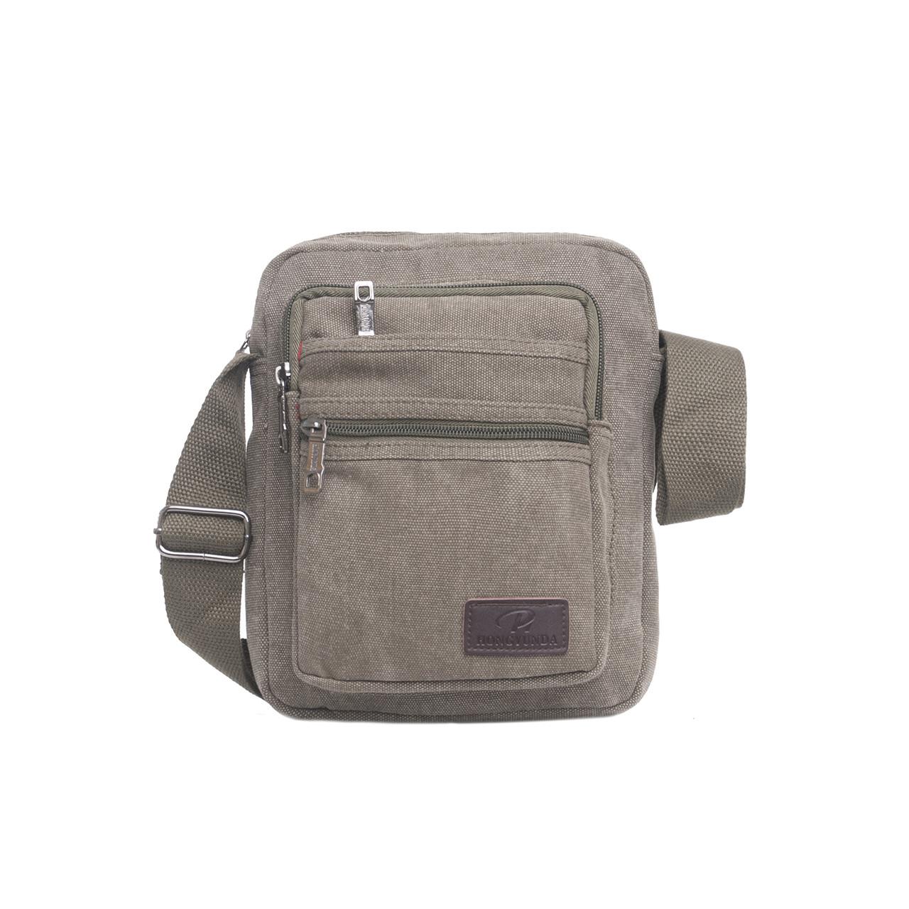 Чоловіча сумка вертикальна HONGYUNDA 18х23х9 матеріал брезент ксФ1518х