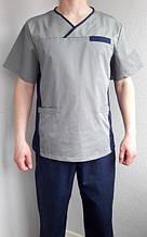 Классический мужской медицинский костюм синий с серым 48-54