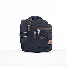 Мужская сумка GOLD BE горизонтальная чёрная 20х19х12 материал брезент ксС555ч, фото 2