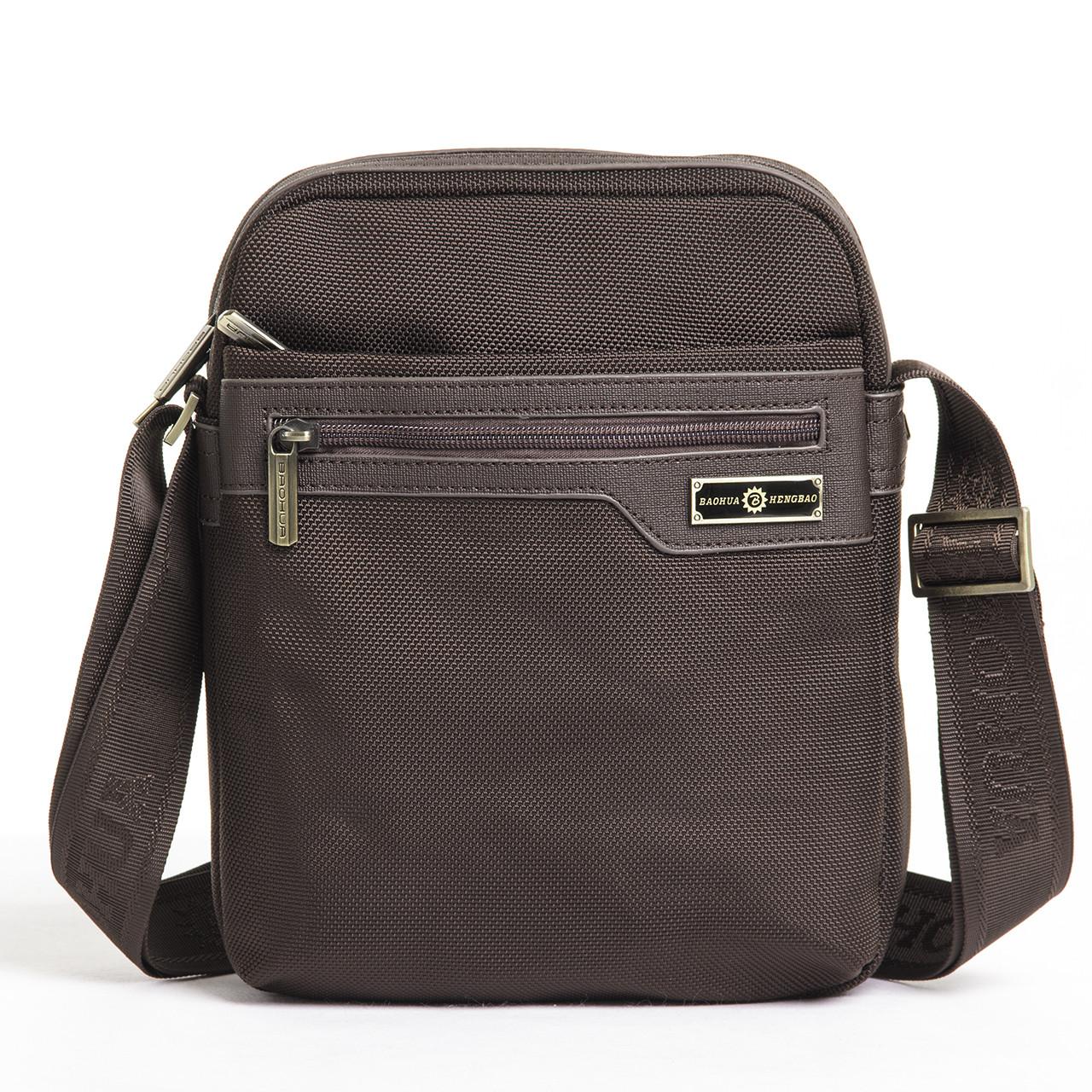 Чоловіча сумка BAOHUA 21х26х8 вертикальна, тканина Карбон ксВН8159-до 8,75