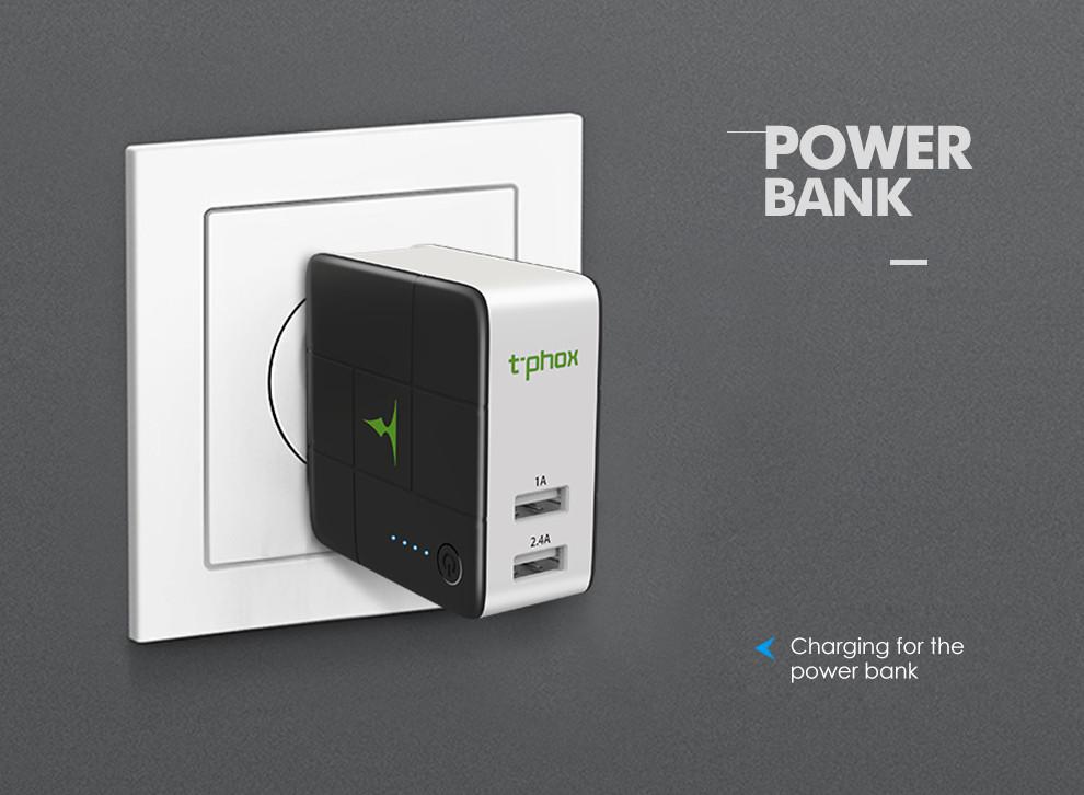 Сетевое и портативное зарядное устройство T-phox (2в1 сам себя заряжает) (5000mAh 2USB 2.4A) (EU)
