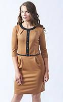 Женское повседневное платье из вискозы цвета кэмел с рукавом три четверти. Модель 442 Mirabelle.