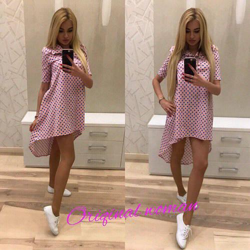 567c30f420d Платье свободное удлиненное сзади в горошек  продажа