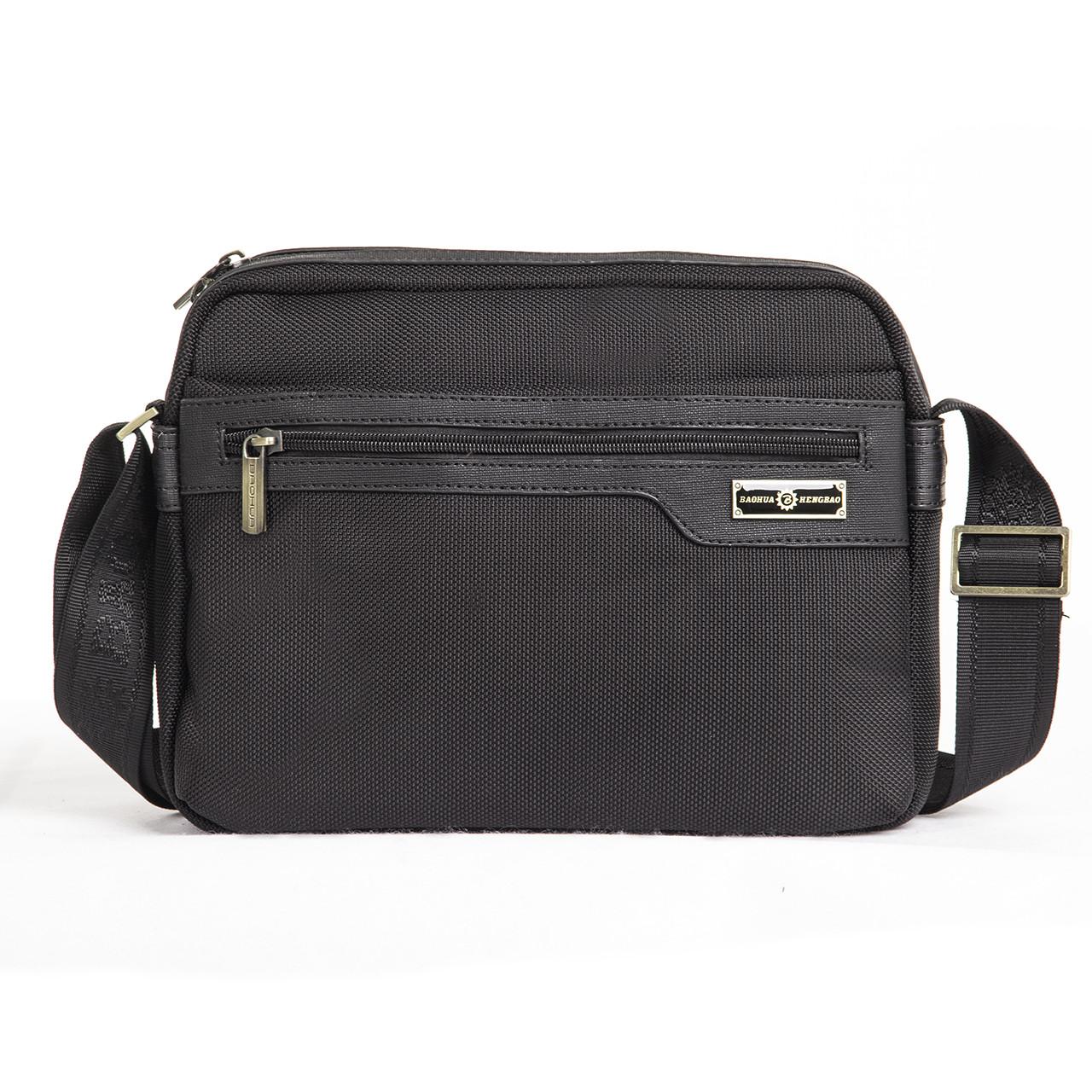 Мужская сумка BAOHUA чёрная 28х21х8 ткань Оксфорд горизонтальная ксВН8159-11,5ч