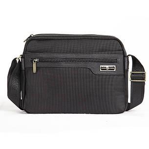 Чоловіча сумка BAOHUA чорна 28х21х8 тканина Оксфорд горизонтальна ксВН8159-11,5 год, фото 2