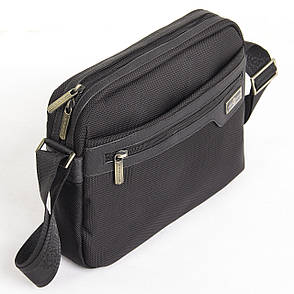 Мужская сумка BAOHUA чёрная 28х21х8 ткань Оксфорд горизонтальная ксВН8159-11,5ч, фото 2