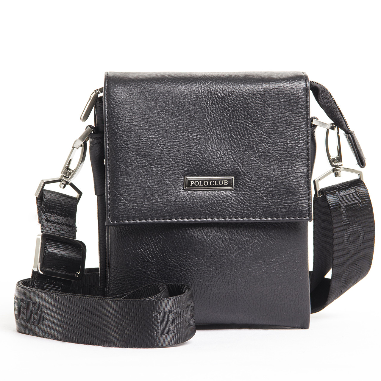 Мужская сумка POLO CLUB чёрный спилак 14х17х8 клапан ручка  кс023-1ч
