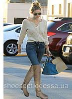 Стильные ботфорты женские кожаные низкий ход , фото 1