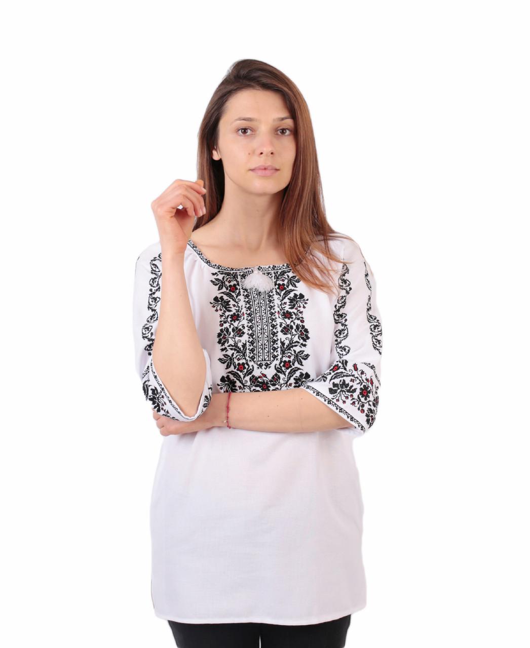 Жіноча вишиванка з машинною вишивкою з рукавом 3/4 недорого