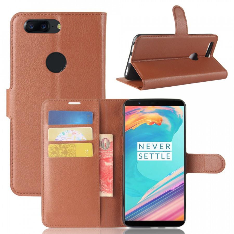 Кожаный чехол (книжка) Wallet с визитницей для OnePlus 5T