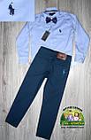 Нарядный праздничный костюм Polo на мальчика 3-4 года: голубая рубашка и синие брюки, фото 2