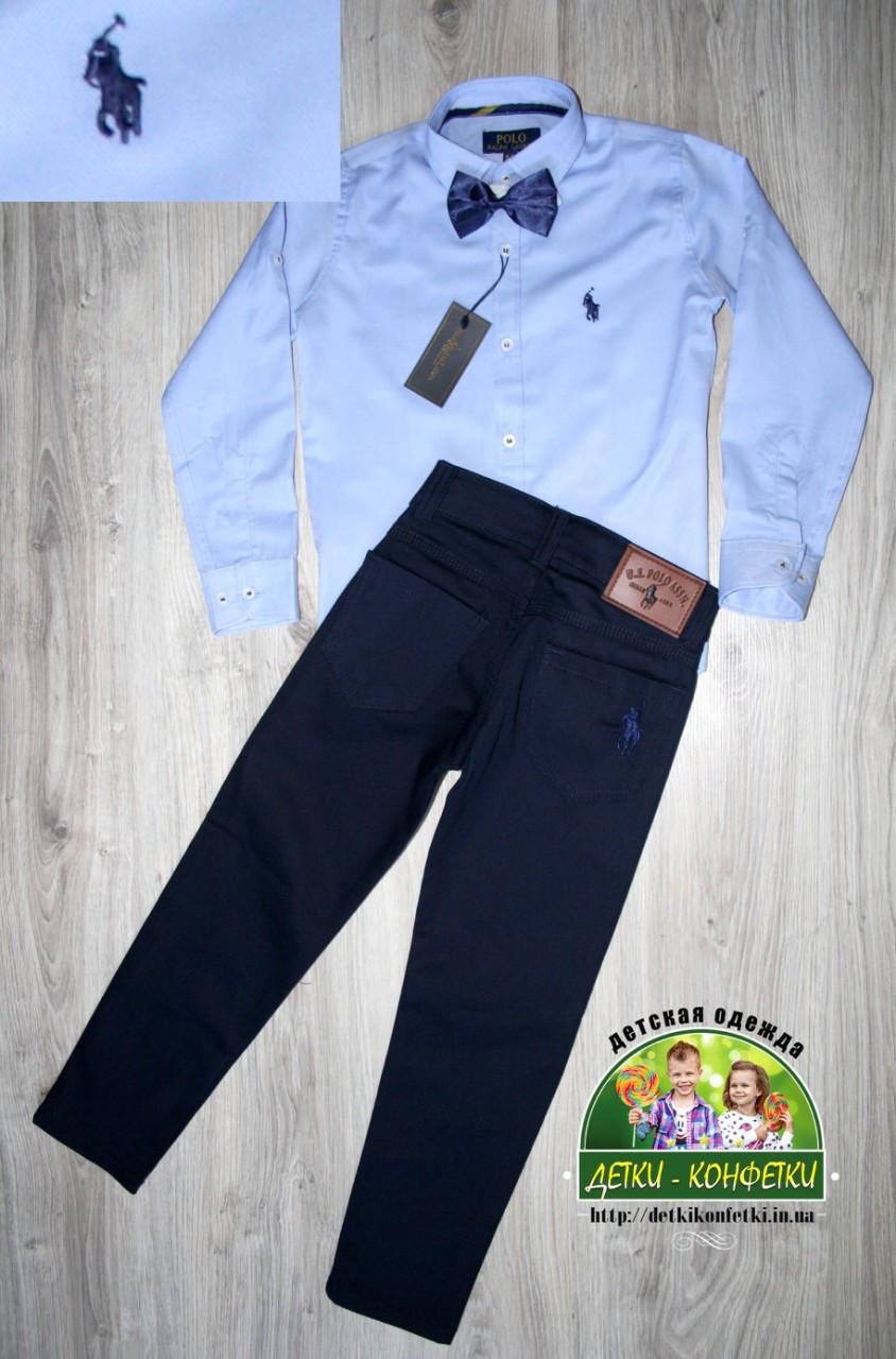 Нарядный праздничный костюм Polo на мальчика 3-4 года: голубая рубашка и синие брюки