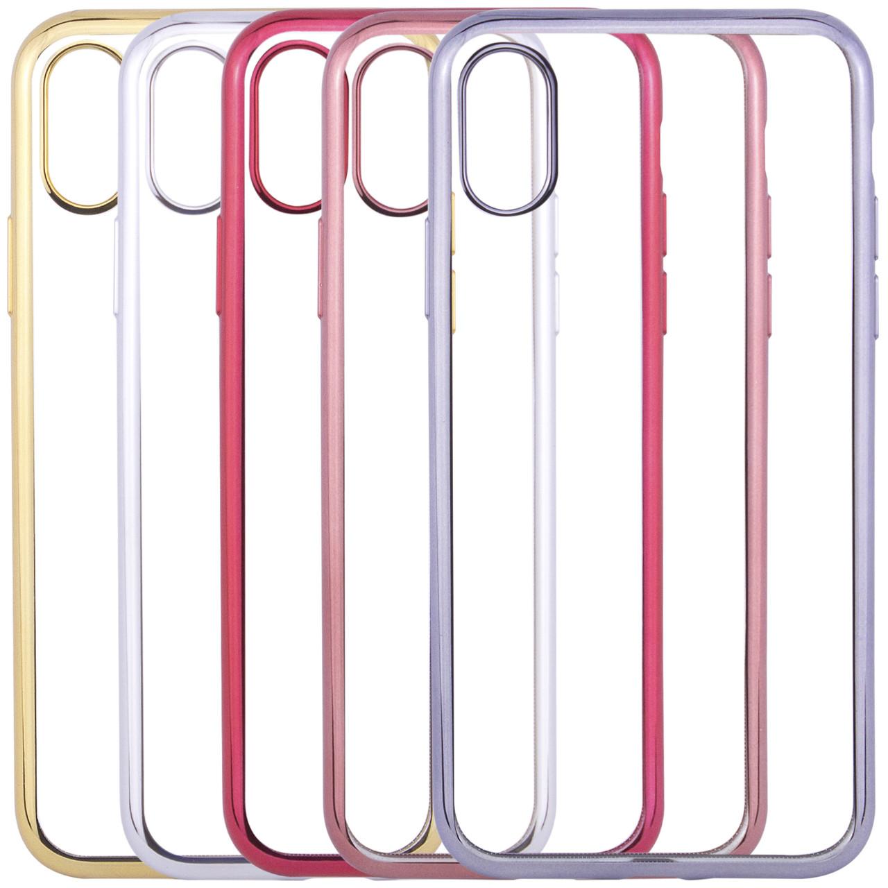 """Прозрачный силиконовый чехол для Apple iPhone X (5.8"""") с глянцевой окантовкой"""