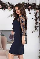 Платье с прозрачной кокеткой София темно-синее, фото 1