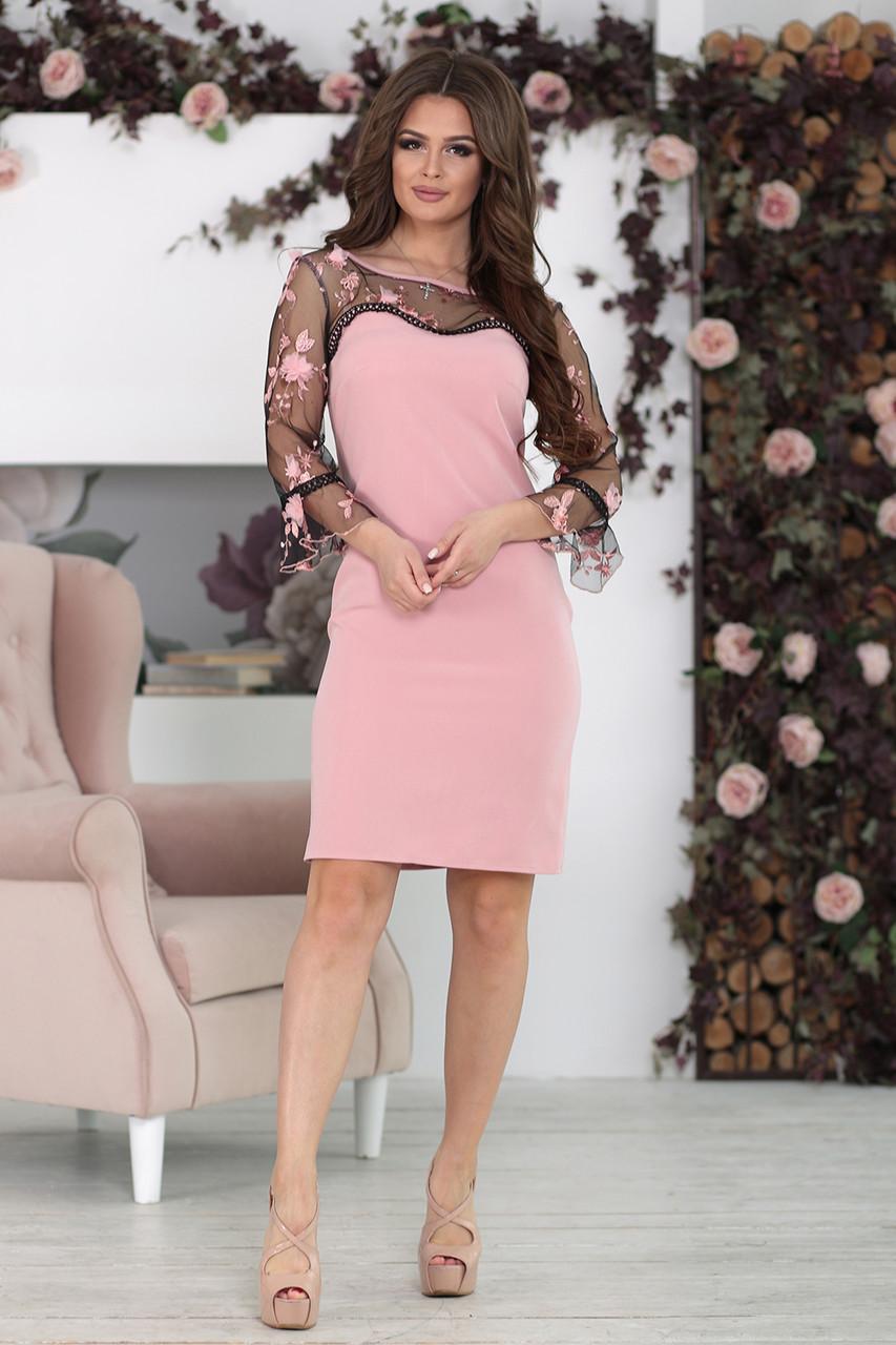 Платье с прозрачной кокеткой София пудра