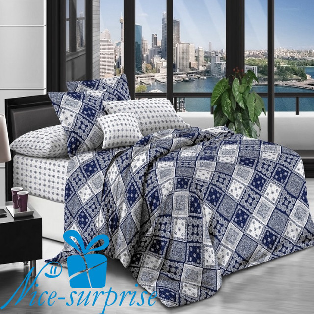 купить двуспальный постельный комплект из поплина в Одессе