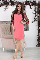 Платье с прозрачной кокеткой София коралл, фото 1