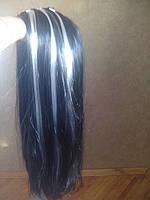 Парик черный длинный с белым мелированьем
