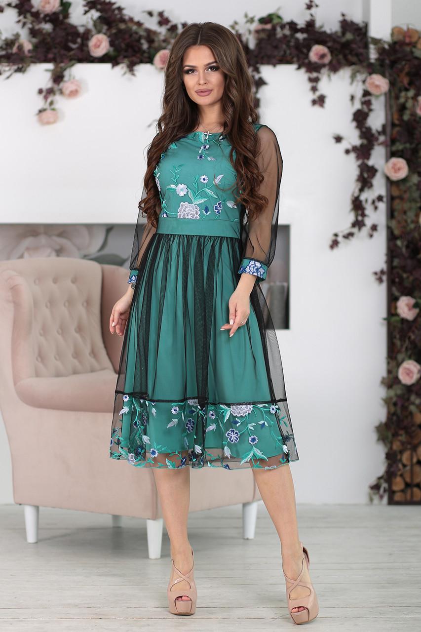 Нарядное Платье Фрида бирюзовое