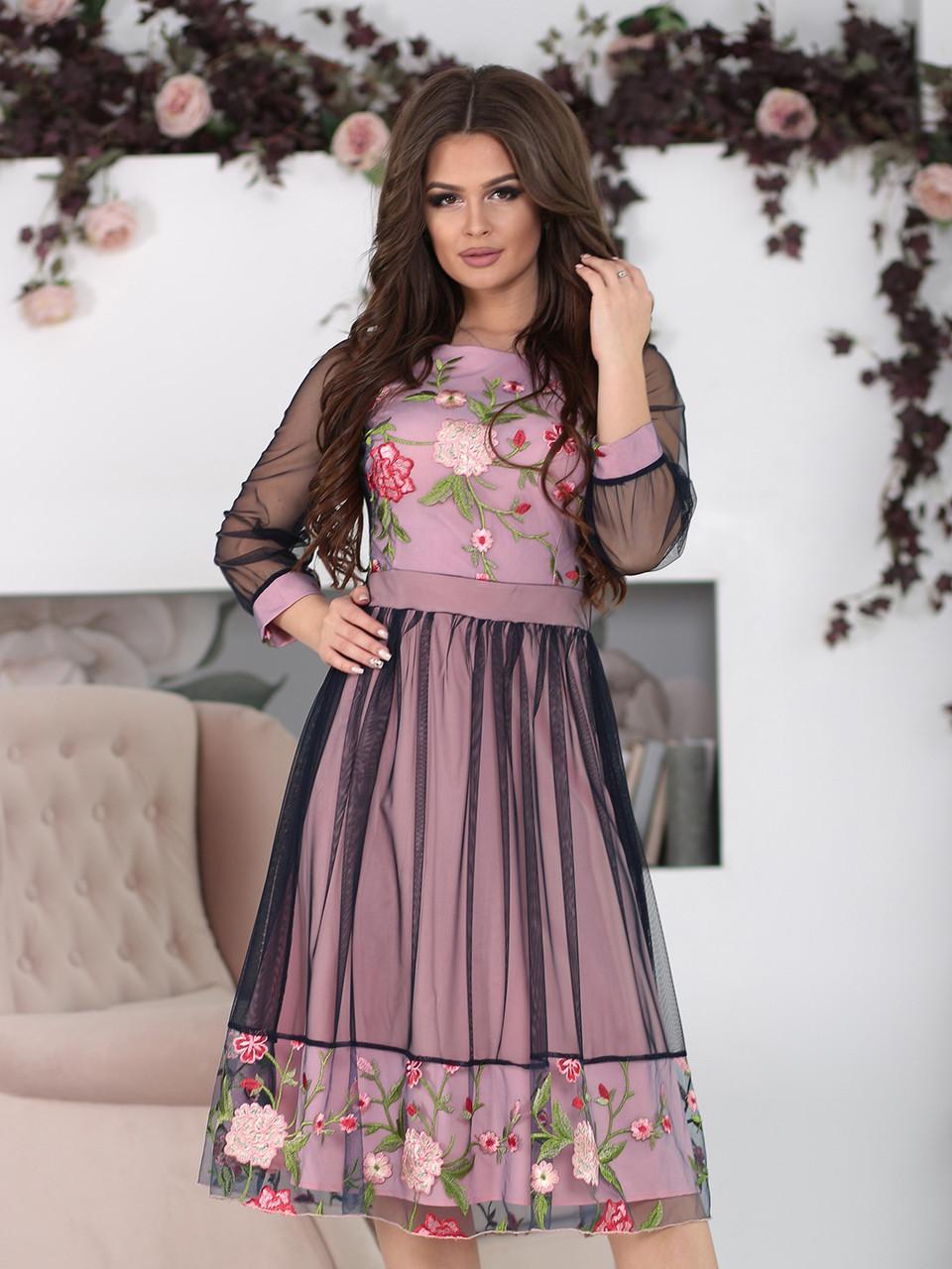 Нарядное Платье Фрида в цвете пудра