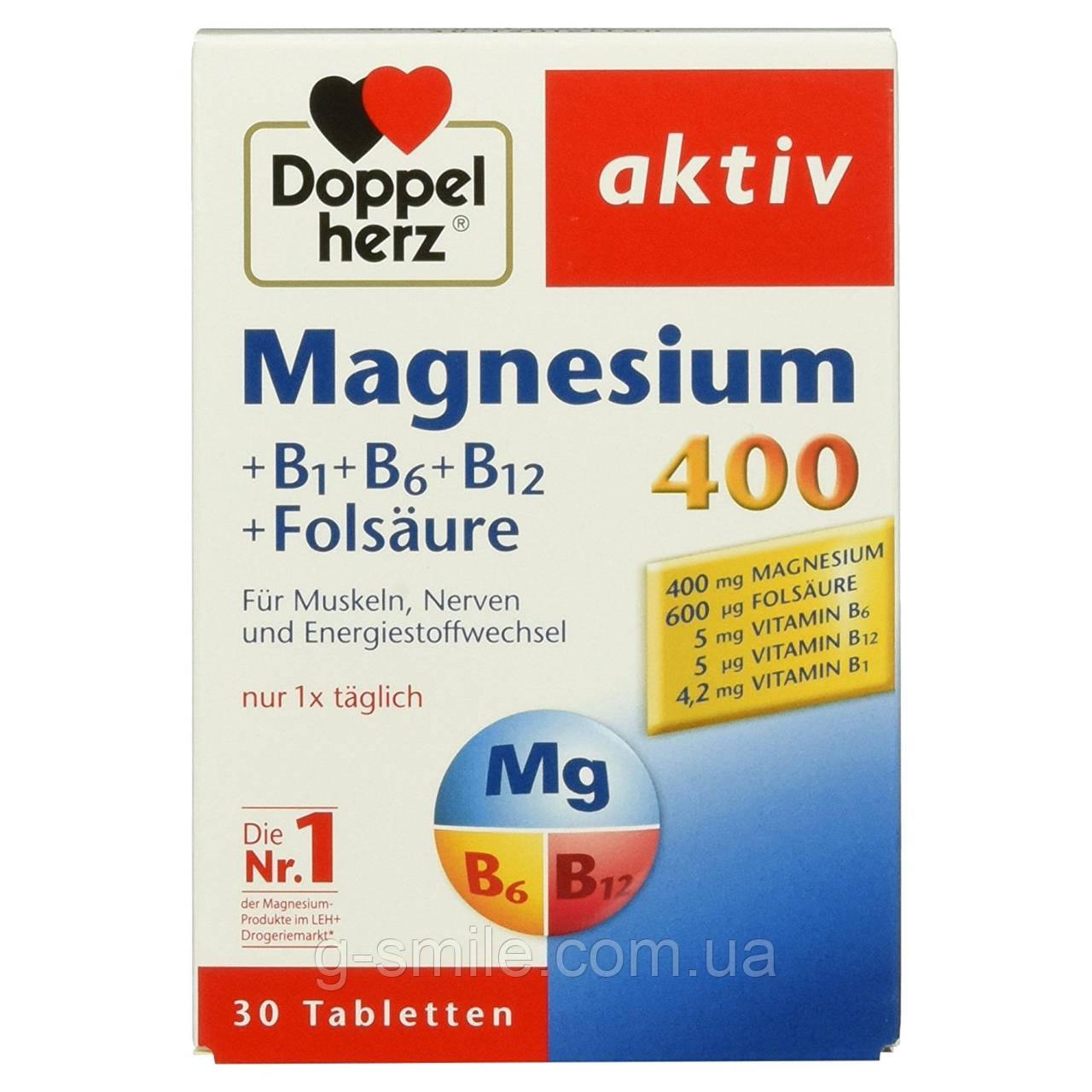 Doppelherz Magnesium 400 + B1 + B6 + B12 + Folsäure,  магний для мышц, нервной системы и энергетический