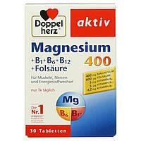 Doppelherz Magnesium 400 + B1 + B6 + B12 + Folsäure,  магний для мышц, нервной системы и энергетический , фото 1