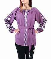 Жіноча блузка бузкового кольору з машинною вишивкою недорого, фото 1