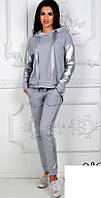 Женский спортивный костюм с экокожей в большом размере, фото 1