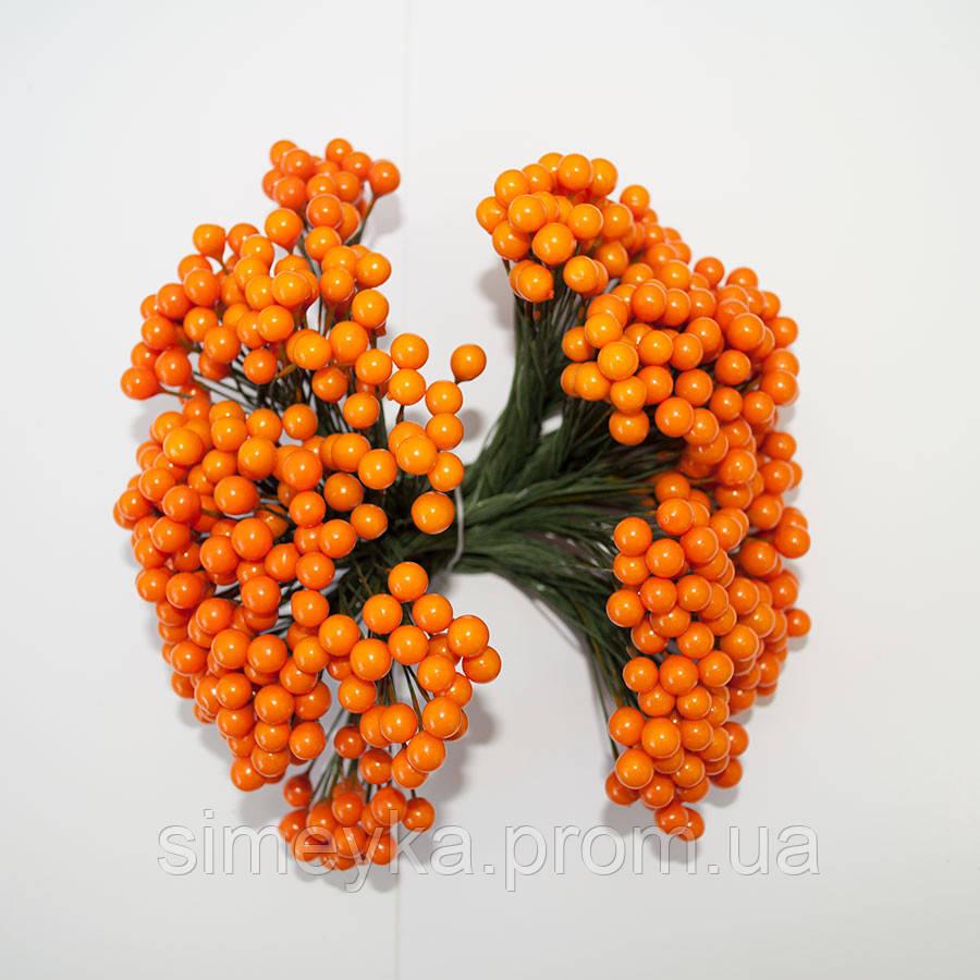 Калина оранжевая декоративная матовая, соцветие из 42 ягод, диаметр ягоды 8 мм