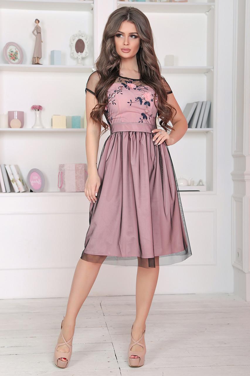 Нарядное розовое Платье Янита