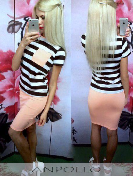 Костюм летний юбка и футболка в полоску с кармашком