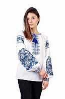Жіноча вишита сорочка білого кольору з машинною вишивкою, фото 1