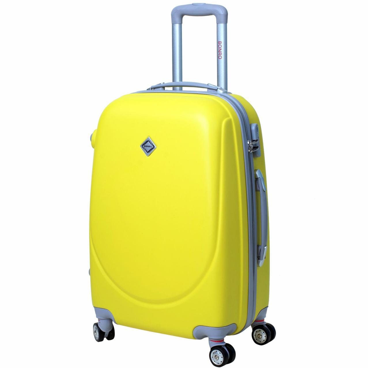 Дорожный чемодан на колесах Bonro Smile с двойными колесами Желтый Средний