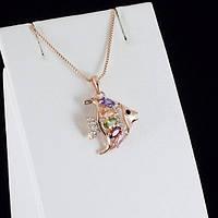 Великолепный кулон с кристаллами Swarovski + цепочка, покрытые золотом 0836