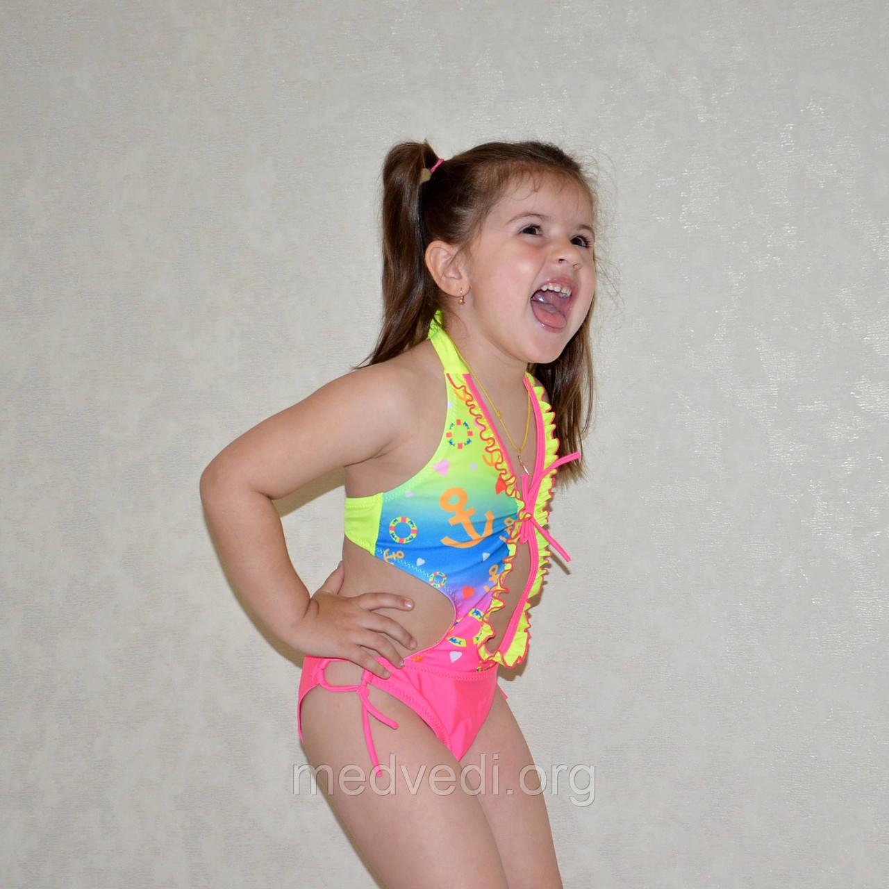 Яркий сдельный детский купальник, для девочек возрастом 5-6 лет