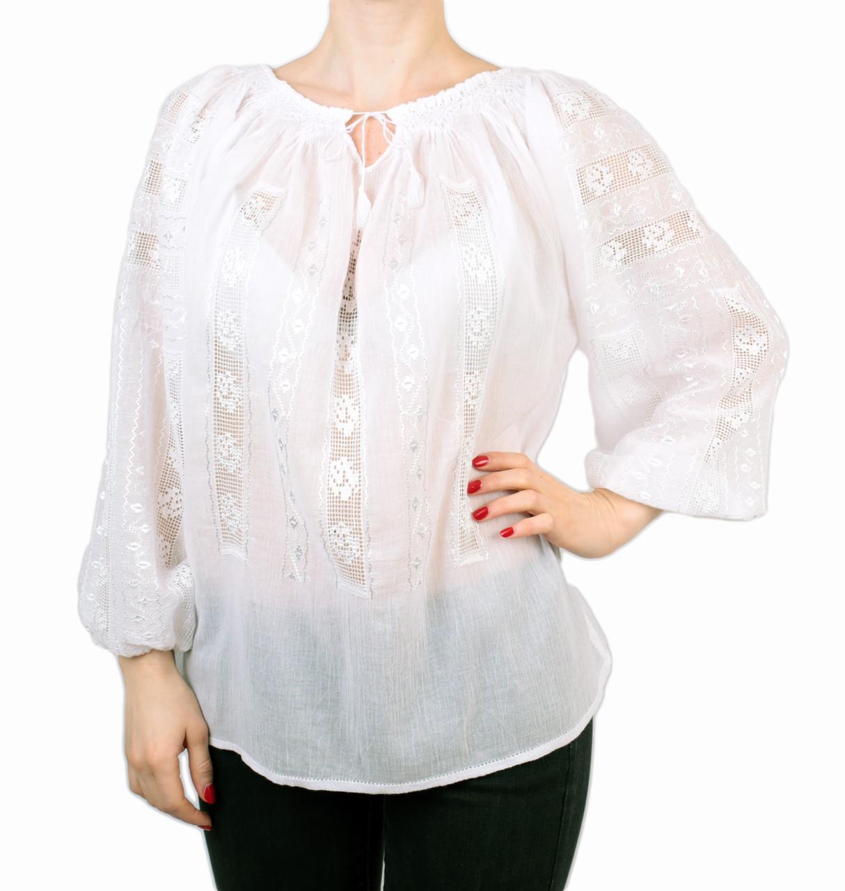 Жіноча вишита сорочка/блузка марльовка з білим орнаментом