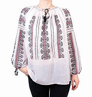 Жіноча вишита сорочка/блузка марльовка з червоно-чорним орнаментом, фото 1