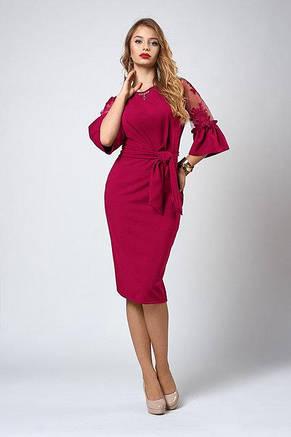 Стильное трикотажное платье с кружевными рукавами, фото 2