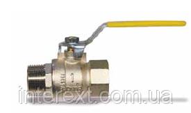 Кран шаровый газовый с внутренней и наружной резьбой Ду20