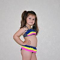 Яркий подростковый купальник для девочки, синий, с рюшами, раздельный, в горох, на возраст 10-12 лет