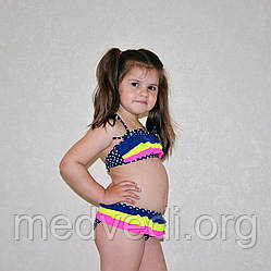 Раздельный детский купальник для девочки, синий, с рюшами, оборкой, в горох, на возраст 8-10 лет