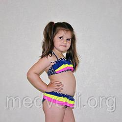 Яркий раздельный детский купальник для девочек, синий, с рюшами, оборкой, в горох, на возраст 4-6 лет