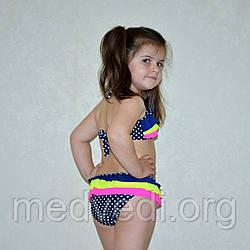 Синий раздельный детский купальник для девочек, с рюшами, оборкой, в горох, на возраст 6-8 лет, 34 размер