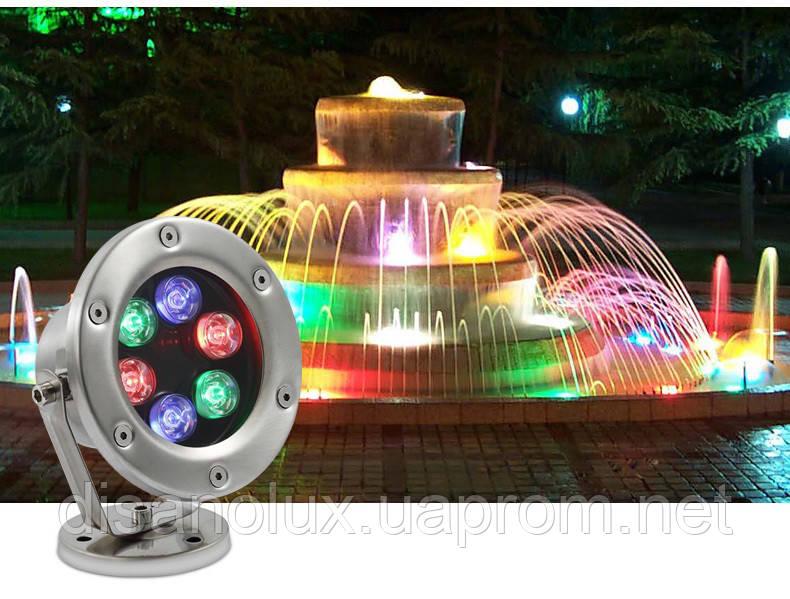 Светильник подводный  LED 12W RGB  12V размер 120мм*140мм IP68