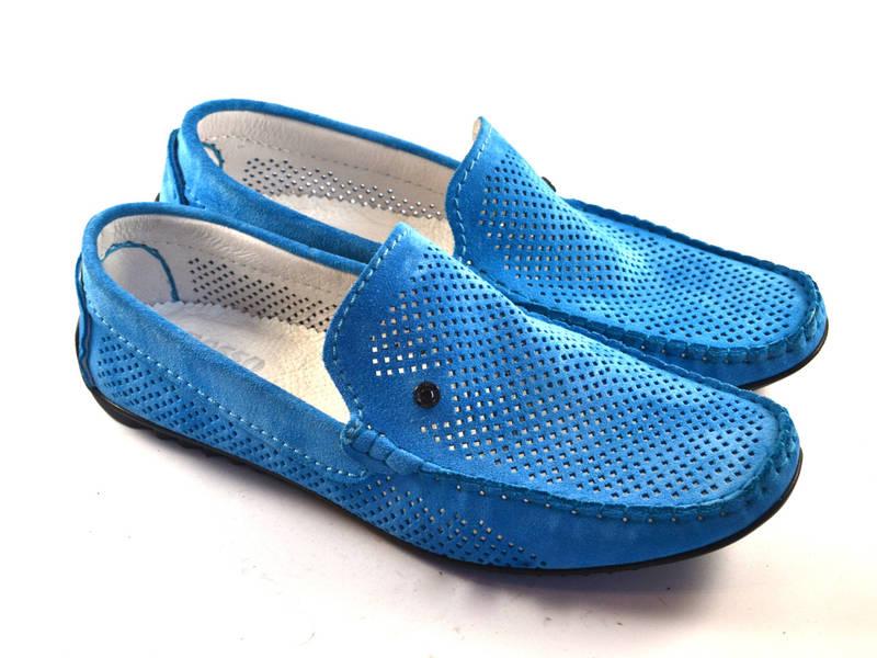 Большие размеры. Летние мужские мокасины замшевые с перфорацией голубые Rosso Avangard BS SE Alberto Blu Perf, фото 1