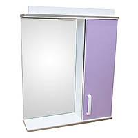 Дзеркало 60 для ванної кімнати з підсвічуванням і шафою Дебют Перфект бузок, фото 1